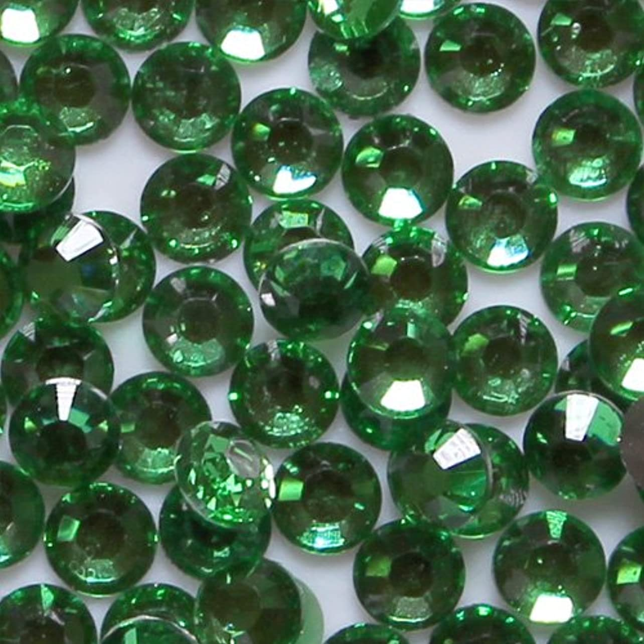 せがむアルミニウム信条高品質 アクリルストーン ラインストーン ラウンドフラット 約1000粒入り 4mm グリーントルマリン