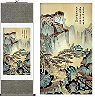 """modebeso ( TM )シルク中国画風景ホーム装飾書道スクロールHangingアートギフト( h40"""" X w12"""" ) 40048"""