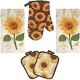 Lobyn Value Packs Kitchen Towel 5 Piece Linen Set 2 Towels 2 Pot Holders 1 Oven Mitt Sunflower