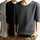 【ノーブランド】シンプル ニット メンズ セーター 長袖(ブラック, L)