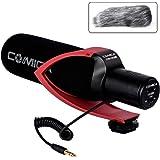 CVM-V30 PROカメラマイク単一指向性コンデンサーガンビデオマイクDSLR/Canon/Nikon/Sony Panasonic用(3.5mm)(赤)