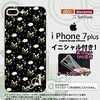 iPhone7plus スマホケース ケース アイフォン7plus ソフトケース イニシャル 花柄・バラ(E) 黒 nk-i7plus-tp250ini R