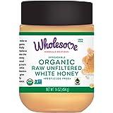 Wholesome Organic Raw Unfiltered White Honey, Pesticide Free, Fair Trade, Non Glyphosate, Non GMO & Gluten Free, Spreadable,