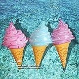 人気 アイスクリーム ソフトクリーム 可愛い 浮き輪 (水色) [並行輸入品]