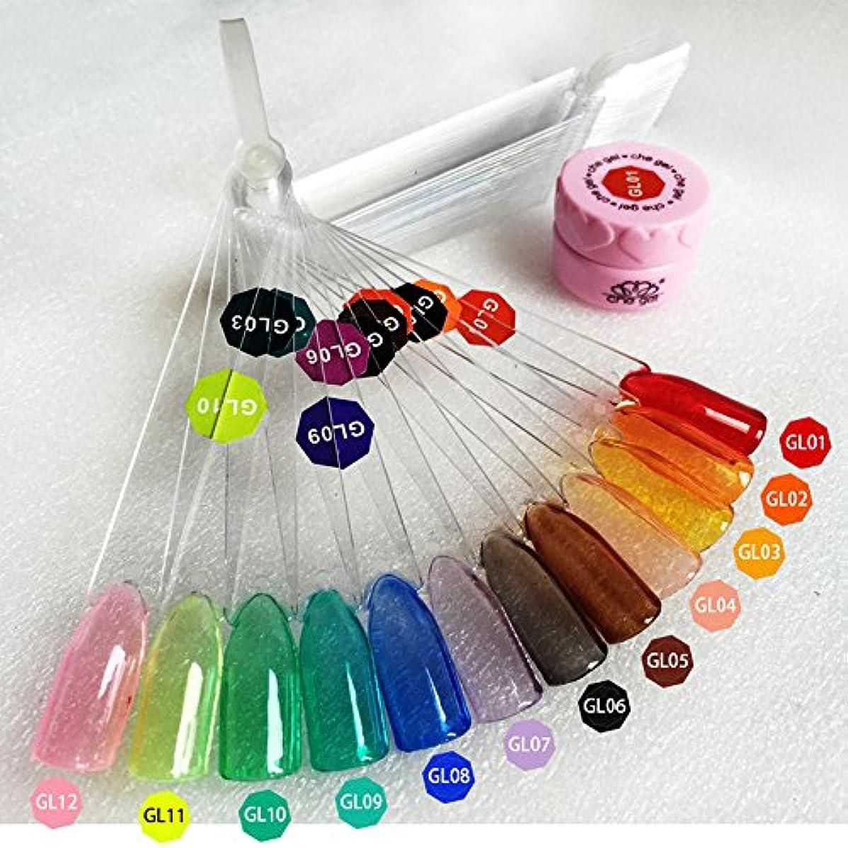 アナロジー陽気な弾力性のあるジェルネイルカラークリアカラージェル ネイルアートネイルパーツネイルマニキュアソークオフ   3gケース入り12色から選び  (5)