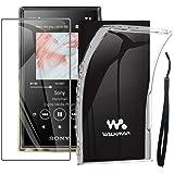 Sony ソニー NW-A105 ウォークマン NW-A100シリーズ ケース NW-A105 NW-A105NH NW-A106HNソフト TPU カバー &強化ガラス 保護フィルム ガラスフィルム 耐指紋 液晶保護フィルム (透明)
