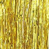 SUNBEAUTY 「1個セット」 キラキラなタッセルカーテン 華やかな金属感 パーティー ウェディング 写真背景 デコレーション お正月 新年 忘年会 イベントの装飾 (金色)
