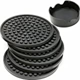Enkore Drink Coasters Set of 6 Pack In Holder, Gray - Non-stick to Cup With Ridged Silicon Base, Good Grip to Surface to Stay