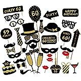 Losuya 60th誕生日パーティー写真ブース小道具36個DIYセット面白いフォトブースProp forユニセックス60th Birthday Celebration