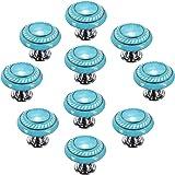 CSKB Blue 10PCS Retro Simple Style Round Ceramic Door Knob Handle Pull Knobs Door Cupboard Locker for Drawer,Cabinet,Chest, B