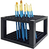 96 Holes Pencil Holder with 10 pcs Paint Brushes FineGood Plastic Pen Desk Stand Storage Organizer with 10 pcs Round Pointed