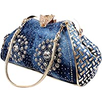 Coofit Adult Denim Blue Knitted Top Handle Handbags with Shiny Rhinestone