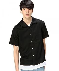 Garment Dyed Camp Shirt 1216-149-2072: Black