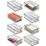 mDesign Stackable Plastic Home Office Storage Organizer Container with Handles for Cabinets, Drawers, Desks, Workspace - BPA