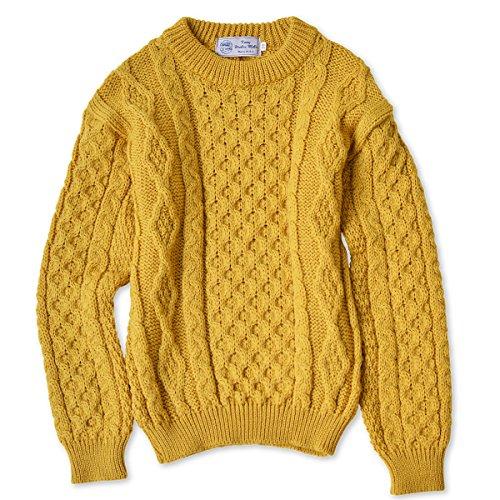 KERRY WOOLEN MILLS (ケリーウーレンミルズ) Aran Crew Neck Sweater アラン クルーネック セーター メンズ トップス アウター (38, サンフラワー)
