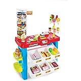 HJXDJP-子供の知育玩具 ままごと遊びをするおもちゃ シミュレーション多機能スーパーマーケットのレジカウンター アウトドアデザート屋 アナログショッピングや支払いのゲーム リッチキャンディー、アイスクリーム、ジュース、キャッシュレジスタやその他の
