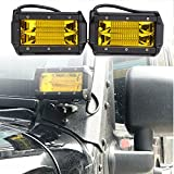 【HOZAN照明】角度可調整72W 5.3インチ スポットライト フォグライト オフロードライト ボートライト 駆動ライト Ledワークライト SUV ジープランプ Ledライトバー 補助照明灯 集魚灯 前照灯 吉普 SUV ATV UTV 船舶 各種作業車に対応 2個セット 1年間品質保証