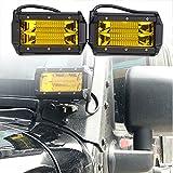 【HOZAN照明】角度可調整72W 5.3インチ スポットライト フォグライト オフロードライト ボートライト 駆動ライト Ledワークライト SUV ジープランプ Ledライトバー 補助照明灯 2個セット 1年間品質保証