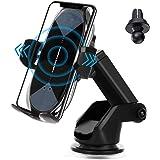 車載Qi ワイヤレス充電車載ホルダー 10W/7.5W 急速ワイヤレス充電器 車ホルダー自動開閉 360度回転 吸盤式&吹き出し口2種類取り付 iPhone 12/pro/mini/ iPhone 11/pro/pro max/X/XR/XS/XSM