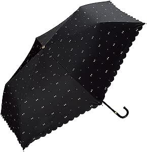 ワールドパーティー(Wpc.) 日傘 折りたたみ傘  ブラック 黒  50cm  レディース 傘袋付き 遮光ジェムリボン ミニ 801-945 BK