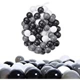 Baby Balls 100 Pack with Non Toxic Pit Balls Color Plastic Balls for Kids Toddlers ?Black, White and Grey?