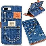 本格デニム iPhone7 PLUS ケース 手帳型 (アイフォン7 プラス 5.5インチ用) マグネット式、スタンド機能、カード収納 人気アイホンケース