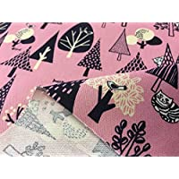 布人倶楽部 綿100% オックス猫柄プリント「森でかくれんぼ」 ピンク 108cm幅