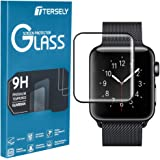 TERSELY Full Cover Screen Protector for Apple Watch 5, Premium High Sensitive Tempered Glass 9H Hardness Full Coverage Screen