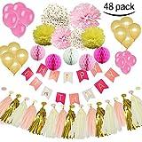 MG MULGORE48個セット誕生日装飾セットバルーンカラフルハニカムボール誕生日幸せバナーバルーンペーパーふわふわ花タッセル誕生日パーティー装飾装飾品青装飾ピンク