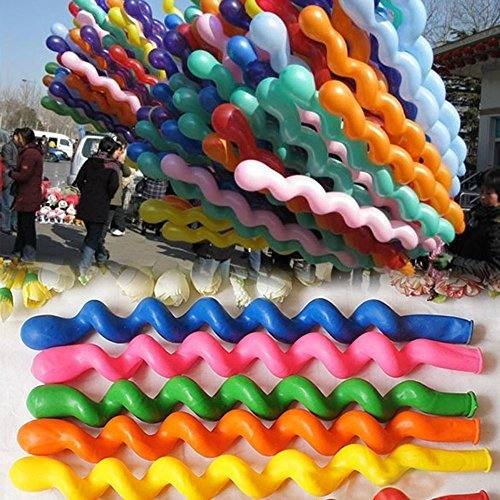50 x Helium Latex Spiral Balloons Birthday Festival Party Decoration Mix Colors by Goldensat [並行輸入品]