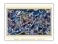 天空のルートPlanisphere - エールフランス - すべての空で - 十二宮 - ビンテージな航空会社のポスター によって作成された ルシアン・ブーシェ c.1938 - アートポスター - 23cm x 31cm