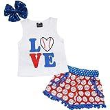 EGELEXY Baby Girls Love Baseball Print Tops T-Shirt+Tassel Shorts Headband Outfits Set