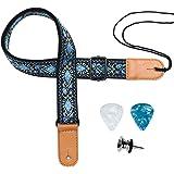 Ukulele Strap, Eyeshot Adjustable Premium Leather Ukulele Strap (Jacquard blue flower)