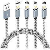 4パック (3フィート、6フィート、6フィート、10フィート) MFi認定 iPhone充電器 ライトニングケーブル 高速ナイロン編組 USB高速充電&データ同期コード iPhone 11 Pro Xs MAX XR 8 8 Plus 7 7 Plu