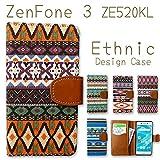 ZenFone 3 ZE520KL エスニック柄キャンバス手帳型ケース【カリフォルニアオレンジ】★ネイティブ柄 オルテガ カバー 【内側黒TPU】