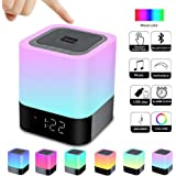 Alarm Clock Bluetooth Speaker Night Light Bluetooth Speaker,Touch Sensor Bedside Lamp,Dimmable Warm Light & Color Changing RG