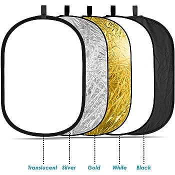 NEEWER 5-in-1撮影用 折りたたみ式 レフ板(銀、金、白、黒、半透明) (60cm x 90cm) 【並行輸入品】