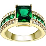 VPbao Ring Jewellery Wedding Ring Gold Plated Cut Cubic Zirconia Rings Green