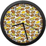 アーストーンで曲がった詐欺師のハンドルとストライプの日傘漫画スタイルユニークな装飾的な時計の壁の装飾25 cm直径と家のフレーム