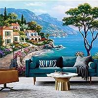 Wuyyii カスタム3Dウォールクロス地中海シーサイドガーデン風景油絵背景壁壁画壁紙用壁3 Dフレスコ画-280X200Cm