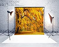 7X 5ftマイクロファイバーイエローLeaves Fall Backdropシームレスno折り目Foldingと洗濯可能写真ブース背景