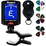 Anpro GT-1 Tuner Guitar Tuner 360 Degrees Rotation Digital Stamp Screen LCD 12PCS Picks with Pouch for Violin, Ukulele Chroma