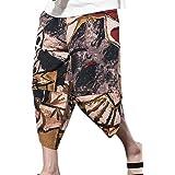 Men's Patchwork Shorts Loose Cotton Linen Harem Capri Pants