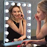 Hollywood Vanity Mirror with Lights,LED Lighted Mirror with 15pcs Dimmable Bulbs,Tabletop or Wall Mounted Dressing Illuminate