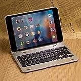 iPad mini4 ケース,IVSO®オリジナルiPad mini4 ケース,iPad mini4 専用 超薄型Bluetooth接続キーボード 内蔵アルミケース キーボード兼スタンド兼カバー - iPad mini4だけ 適用(ゴールド)