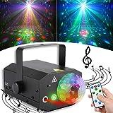 【最新版64パターン】ステージライト レーザーライト LED投影ライト 2in1 リモコン/音声制御 多色変換 舞台照明 演出照明 KT V/パーティー/ディスコ/結婚式/舞台/演出 (ブラック)