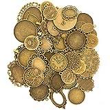 ミール皿 + 銀の紋章チャーム 45枚セット 金古美 レジンアクセサリー アンティークゴールド ハンドメイド パーツ 詰め合わせ 福袋