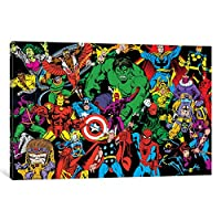 """iCanvasART mrv1398Marvel Comics (レトロ) -character line-upでズームギャラリーWrappedキャンバスアートプリントby Marvel Comics、12"""" x 0.75"""" X 18"""""""