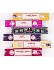 Nag Champa 6 Piece Variety pack-サンダルウッド、ローズ、スーパーヒット、レイキ、バニラ、and Dragon 's Blood