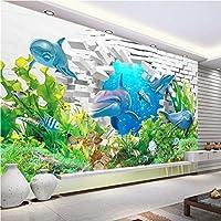 XLI-You 3D壁紙 カスタマイズ可能 あらゆるサイズの壁紙 壁画写真 3D 水中 世界 イルカ 美しい海景 ビーチ ココ 背景 壁用ステッカー XLi-You45282-4502